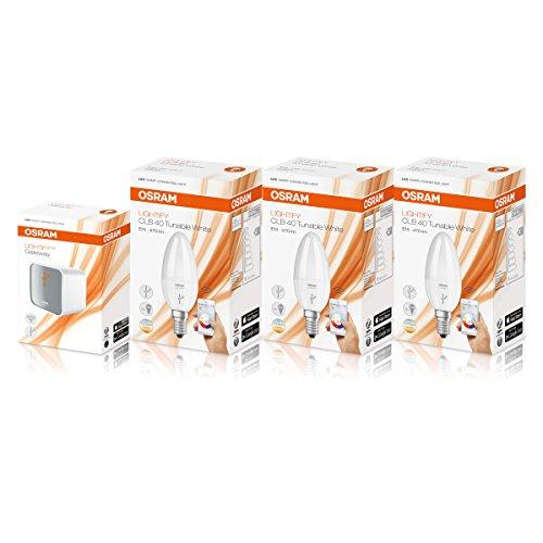 Osram Lightify Smart Home LED-Birnen-Set E14, inkl. Osram Lightify Gatewat und 3Osram Lightify Smart Home LED-Leuchtmittel E14 – 6W / 40W, Ersatz, dimmbar, warmweiß bis Tageslicht, 2700K–6500K