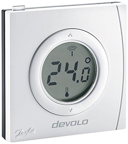 devolo Home Control Raumthermostat (Funk Thermostat, Heizungssteuerung, Z-Wave Hausautomation, Haussteuerung per iOS/Android App, Smart Home Sensor, Aufputz Installation) weiß