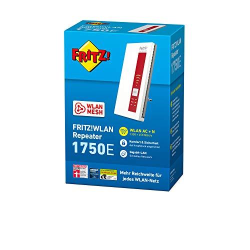 AVM FRITZ!WLAN Repeater 1750E – Dual-WLAN AC + N bis zu 1.300 MBit/s 5 GHz + 450MBit/s 2,4 GHz - 4